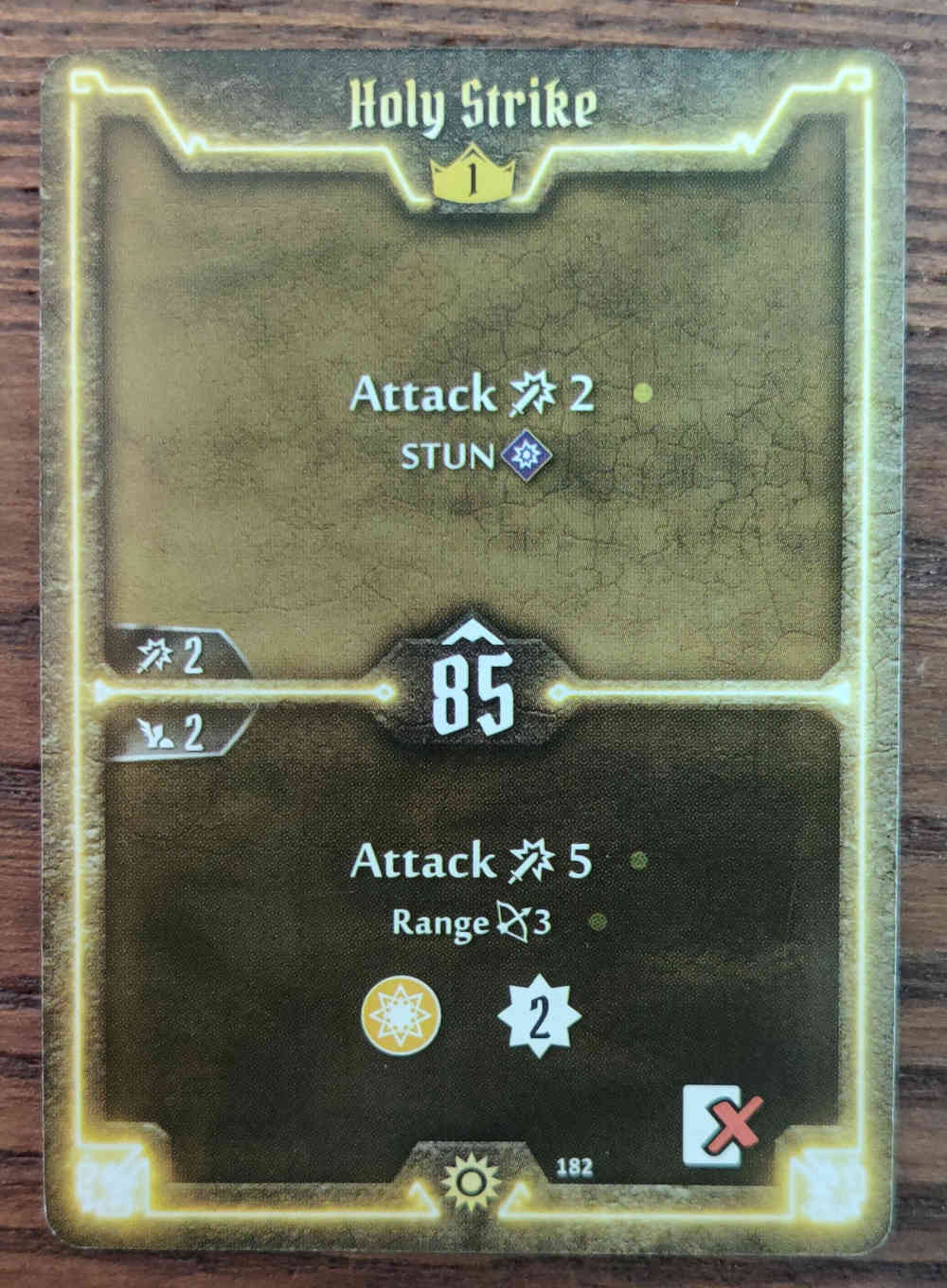 Level 1 Sunkeeper Holy Strike card Gloomhaven