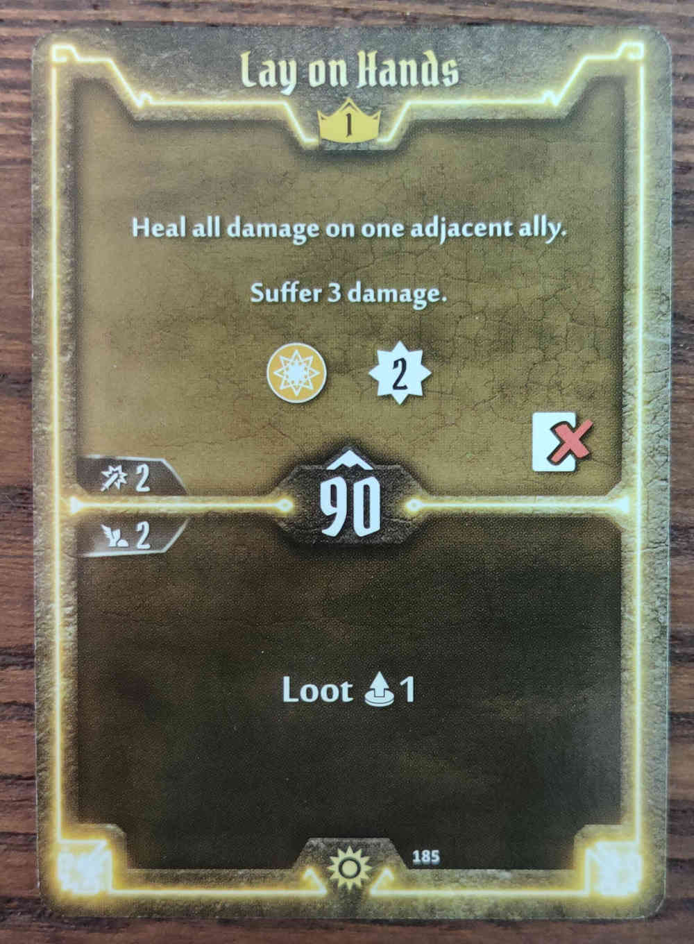 Level 1 Sunkeeper Lay on Hands card Gloomhaven