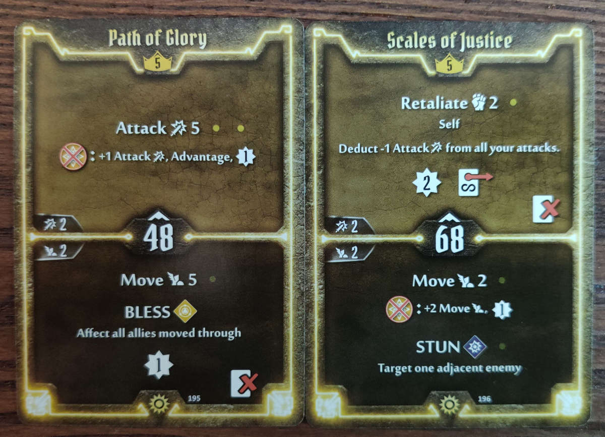 Level 5 Sunkeeper cards Path of Glory and Scales of Justice