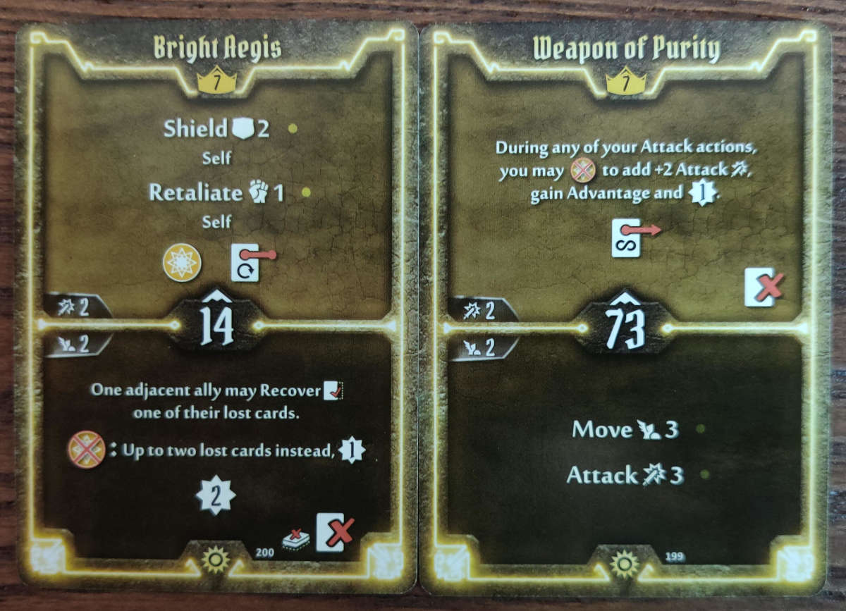 Level 7 Sunkeeper cards Bright Aegis and Weapon of Purity