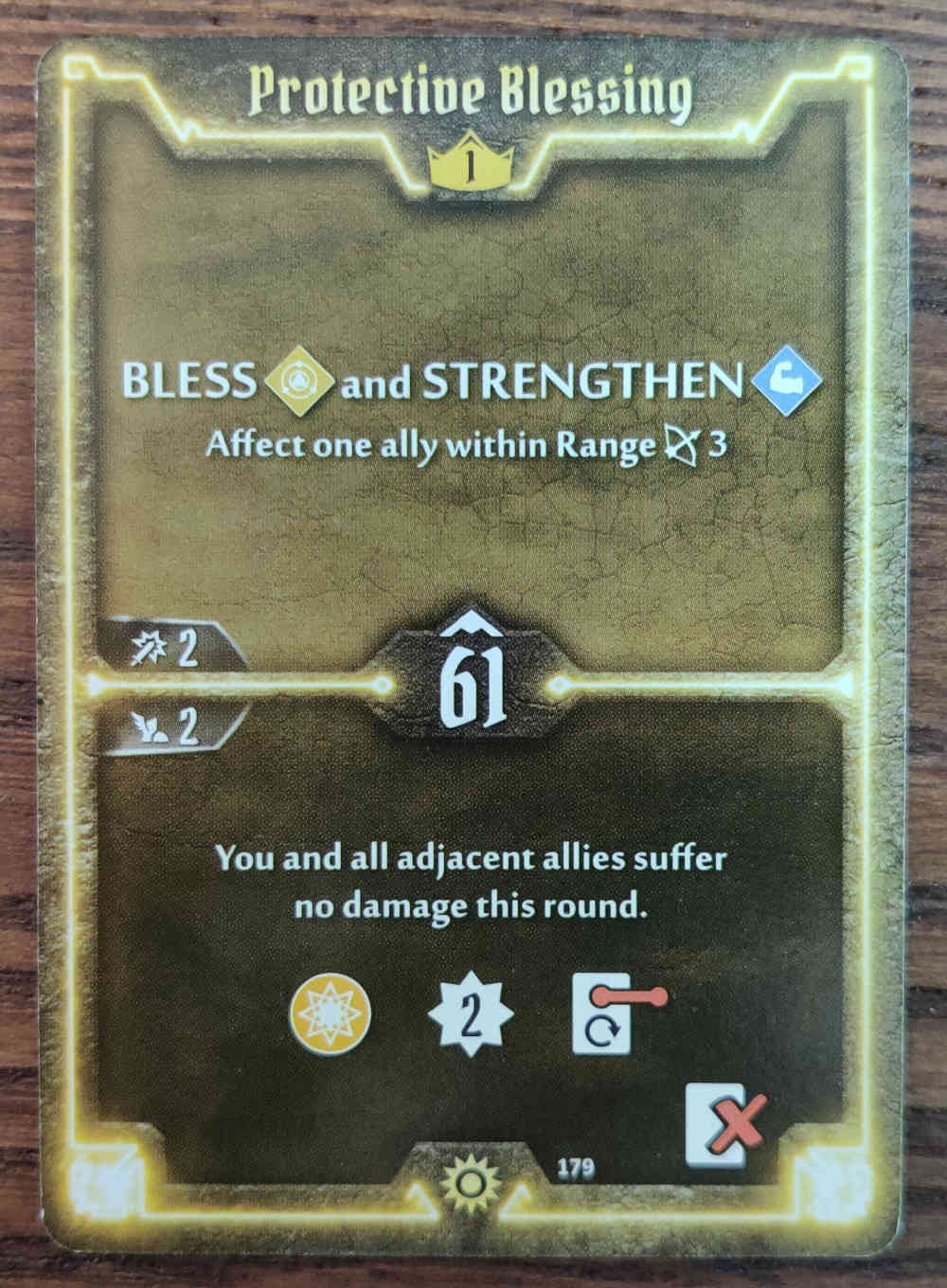 Level 1 Sunkeeper Protective Blessing card Gloomhaven