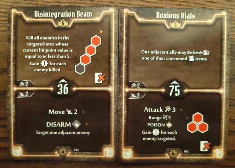 Tinkerer Level 5 cards - Disintegration Beam, Noxious Vials