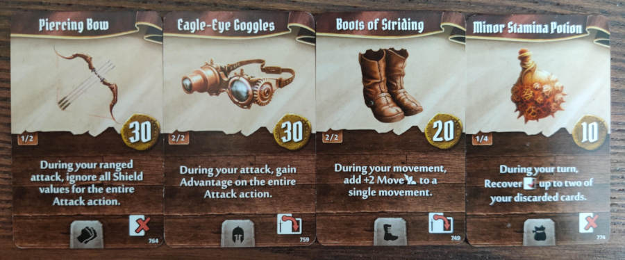 Tinkerer starting items - Piercing Bow, Eagle-Eye Goggles, Boots of Striding, Minor-Stamina Potion