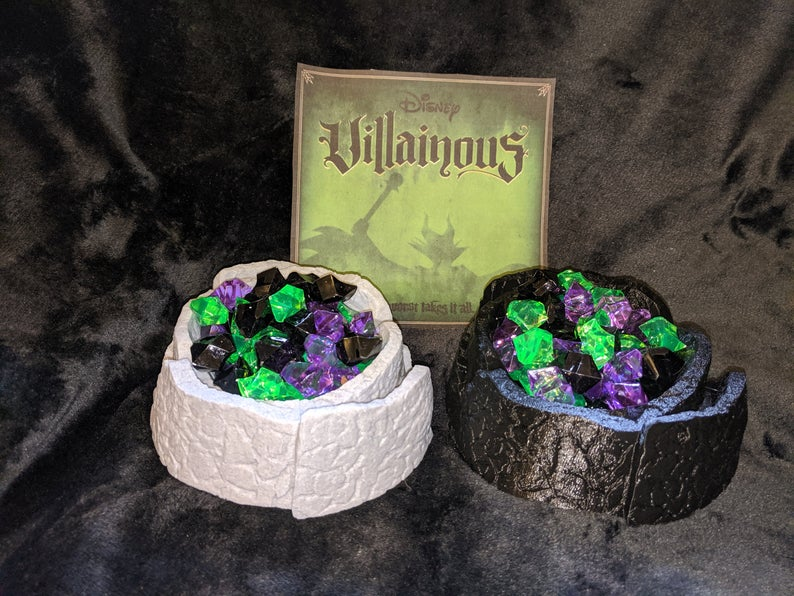 Disney Villainous Cauldrons and power tokens. Image Credit: Laser Land on Etsy