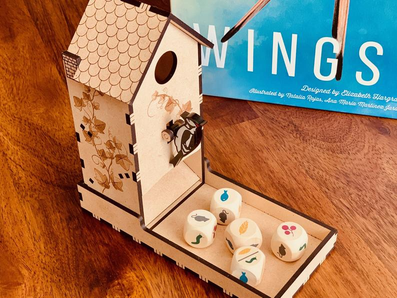 Bird feeder dice tower from The Shipshape Gamer on Etsy.