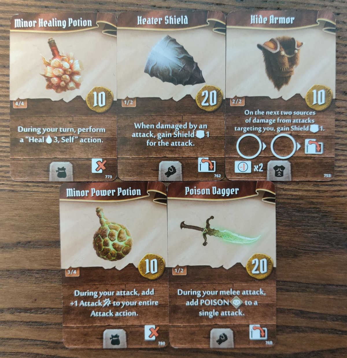 Sunkeeper starting items - Minor Healing Potion, Heater Shield, Hide Armor, Minor Power Potion, Poison Dagger
