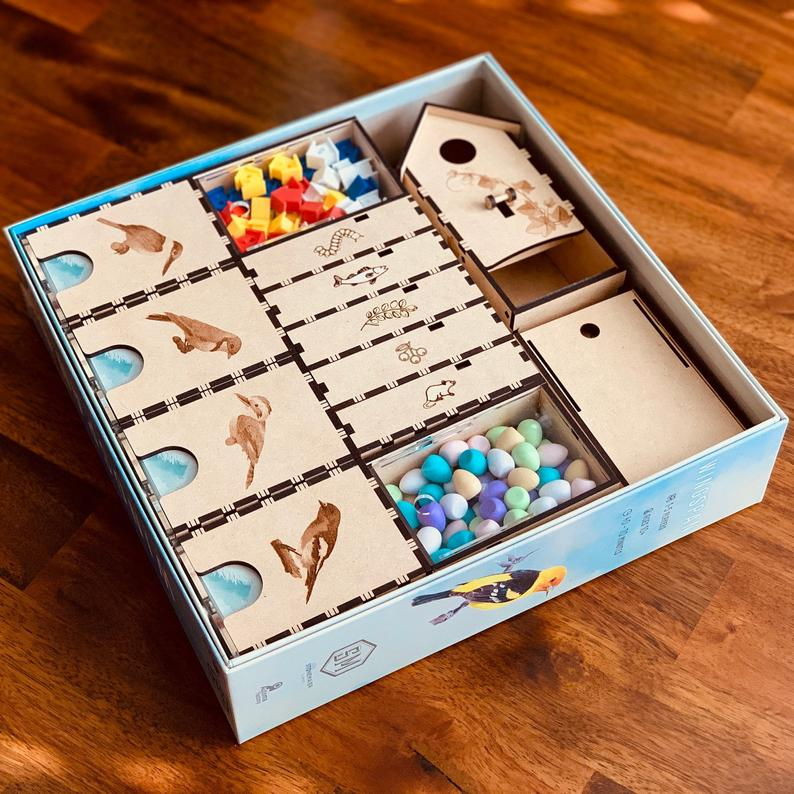 Wingspan organizer. Image credit: The Shipshape Gamer on Etsy.
