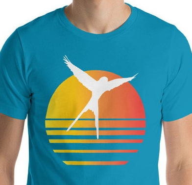 Wingspan synthwave t-shirt. Image credit: Meeple Designs on Etsy.