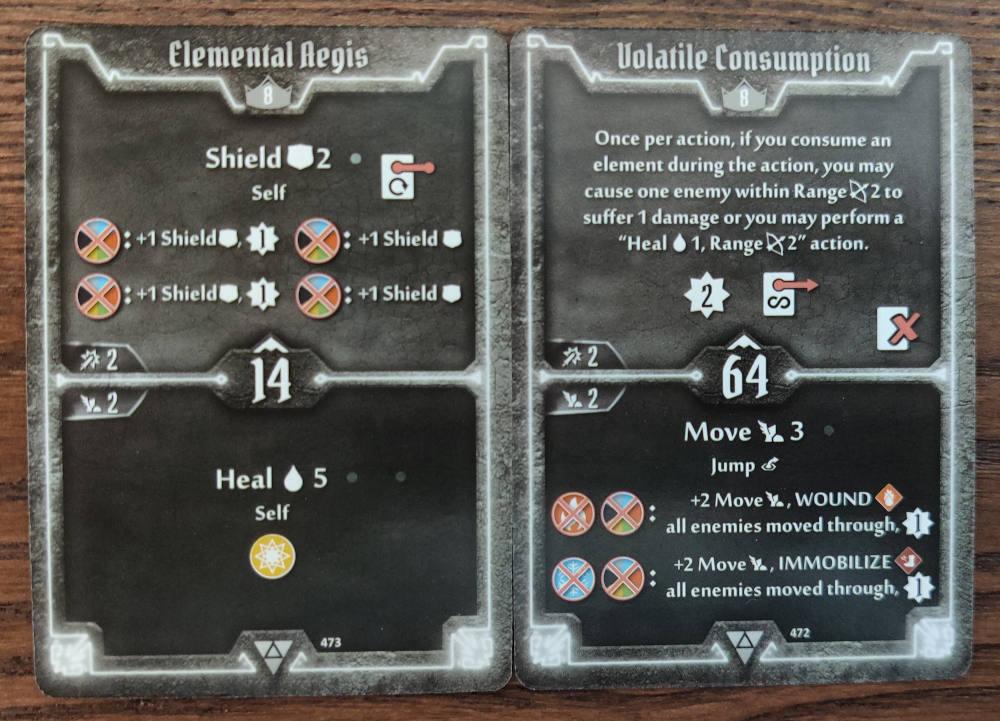 Elementalist level 8 cards - Elemental Aegis and Volatile Consumption