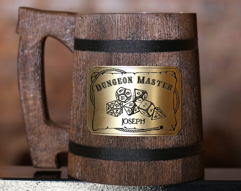 Personalized DM tankard. Image credit: Wood Mug Design Etsy.