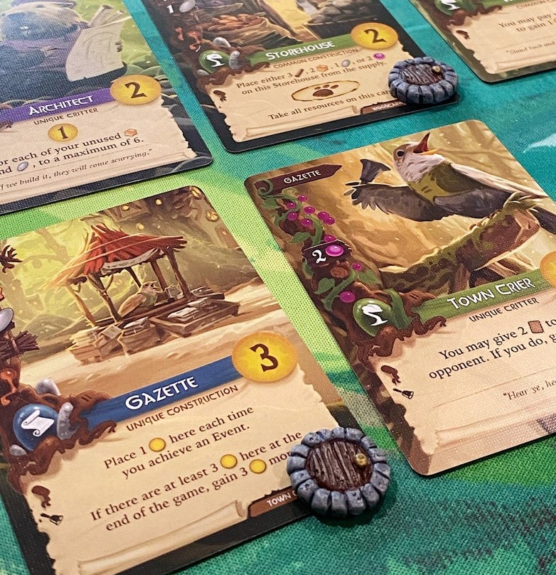 Everdell occupied tokens. Image credit: SmokingSardine on Etsy.