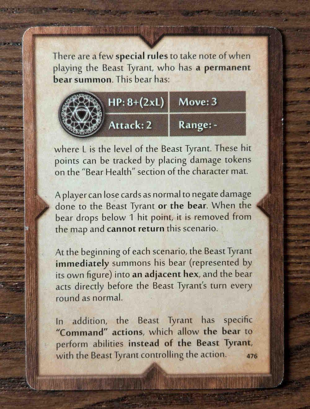 Beast Tyrant bear rules card