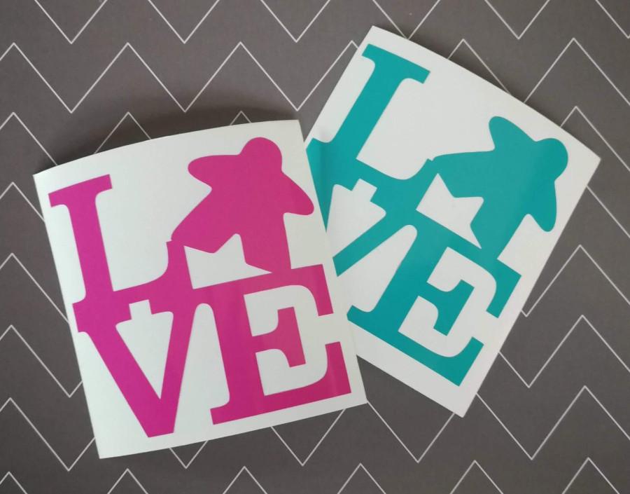 Love Meeple sticker decals. Image credit: GeekyGoodiesShop on Etsy.