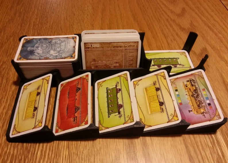 Ticket to Ride deck holder. Image credit: McMaster3D on Etsy.