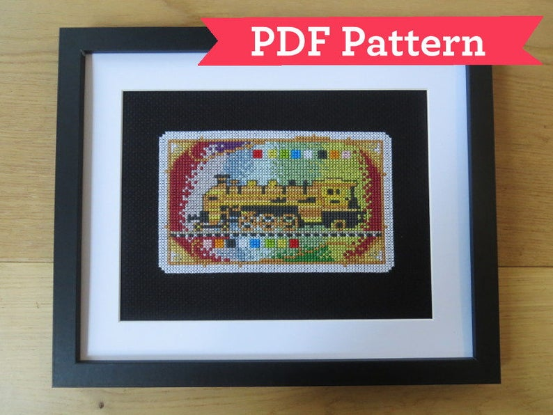 Ticket to Ride cross stitch pattern. Image credit: GratedExpectations on Etsy.