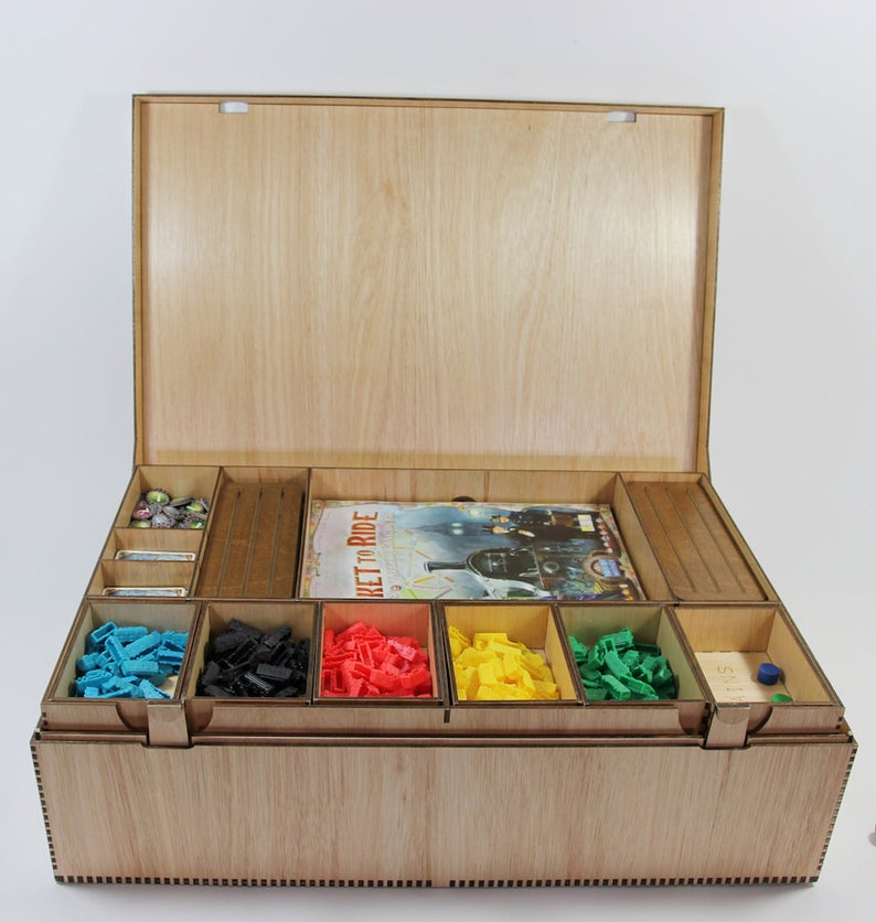 Ticket to Ride wooden box. Image credit: BasicallyWooden on Etsy.