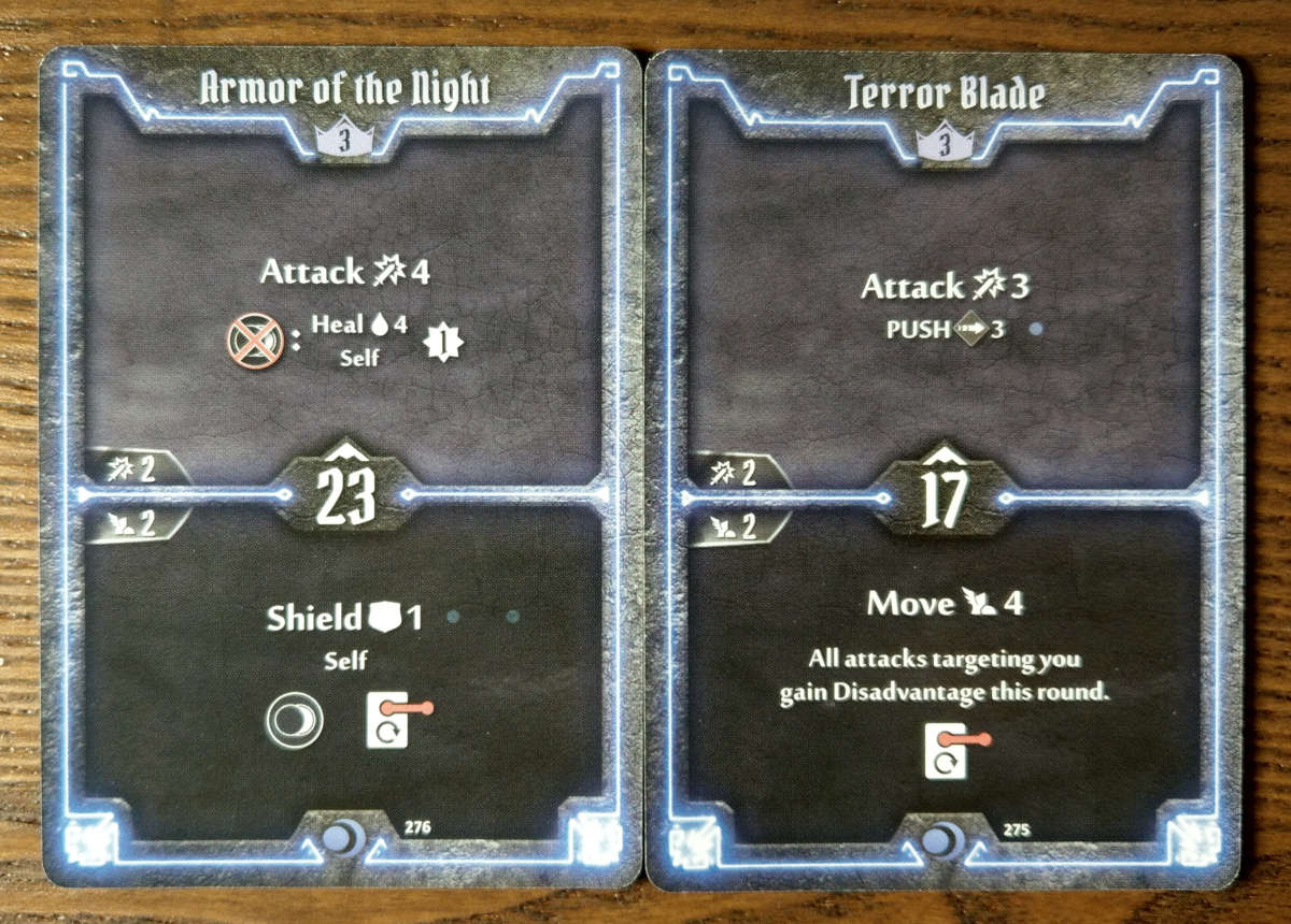 Level 3 Nightshroud cards - Armor of the Night and Terror Blade