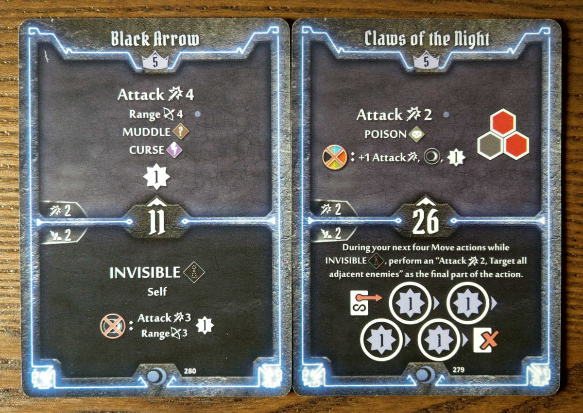 Level 5 Nightshroud cards - Black Arrow and Claws of the Night
