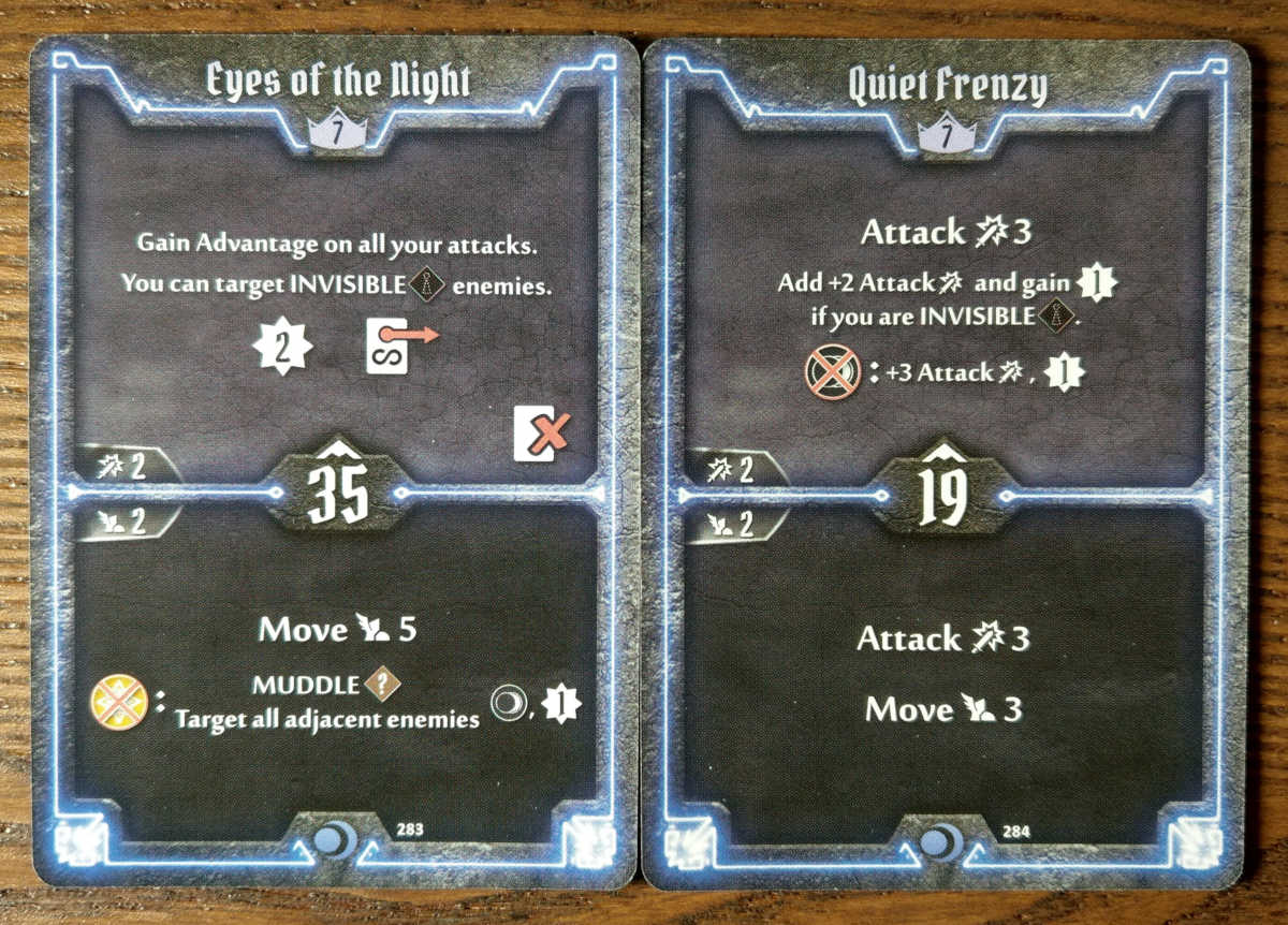 Level 7 Nightshroud cards - Eyes of the Night and Quiet Frenzy