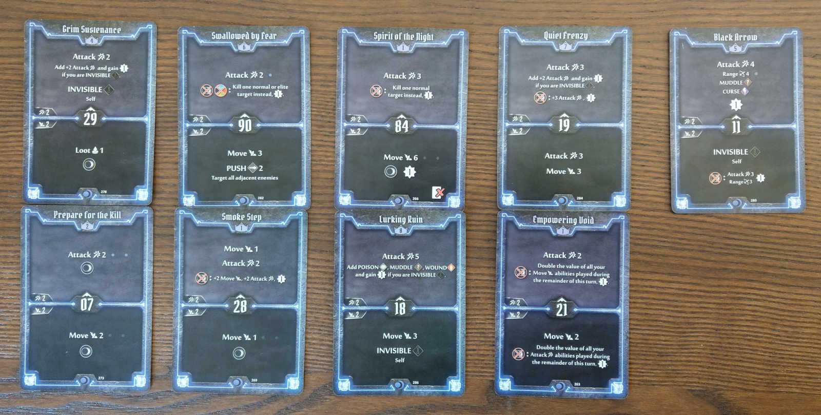 Level 8 Nightshroud build cards