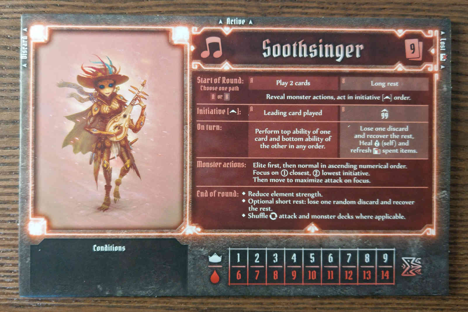 Soothsinger class board - levels and hit points