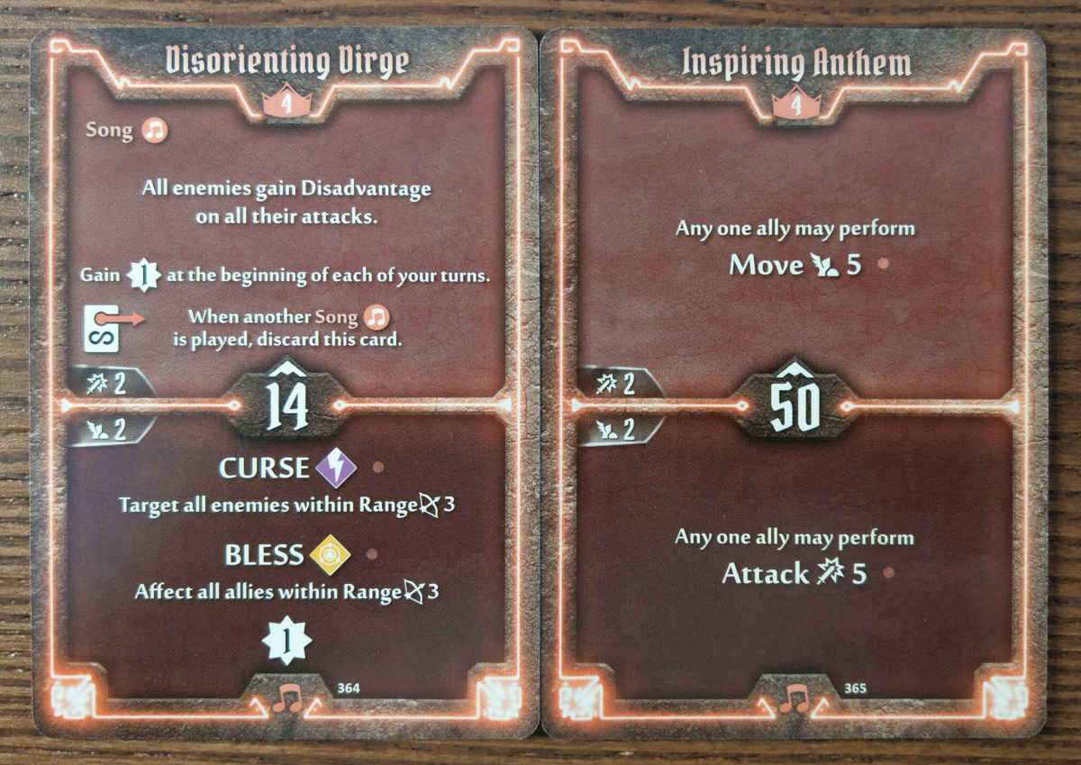 Level 4 Soothsinger cards - Disorienting Dirge and Inspiring Anthem