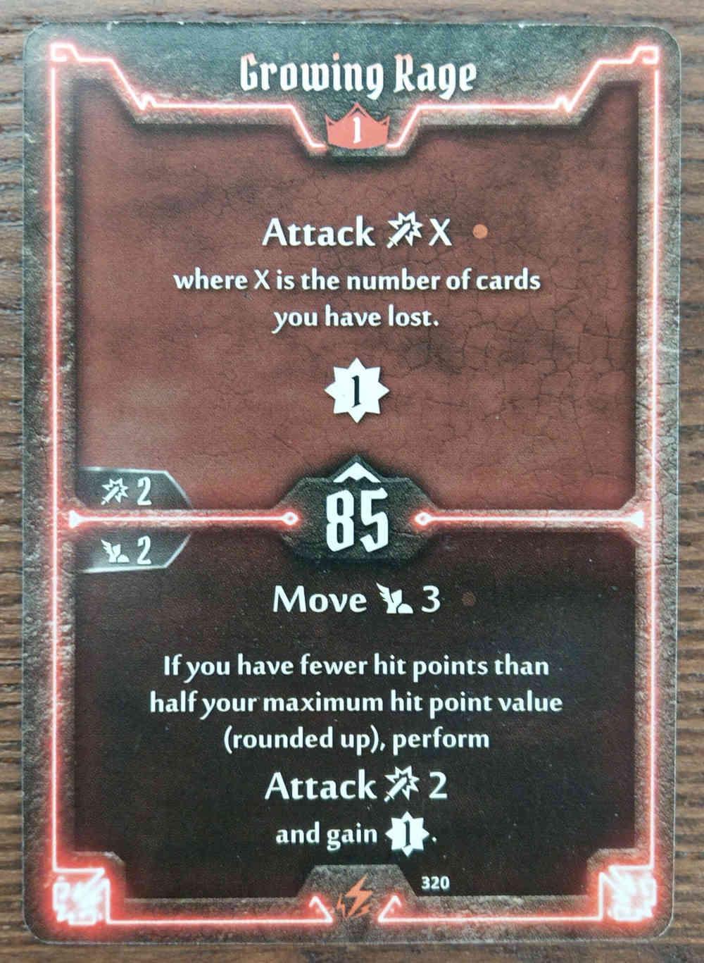 Level 1 Berserker card Growing Rage