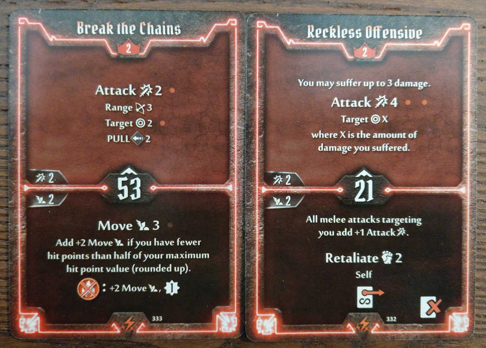 Level 2 Berserker cards - Break the Chains and Reckless Offensive