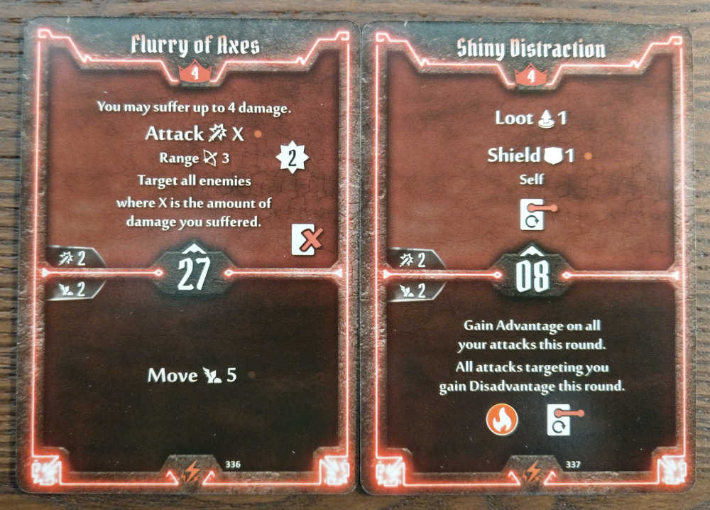 Level 4 Berserker cards - Flurry of Axes and Shiny Distraction