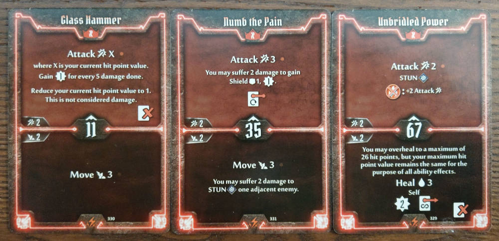 Berserker level X cards - Glass Hammer, Numb the Pain and Unbridled Power