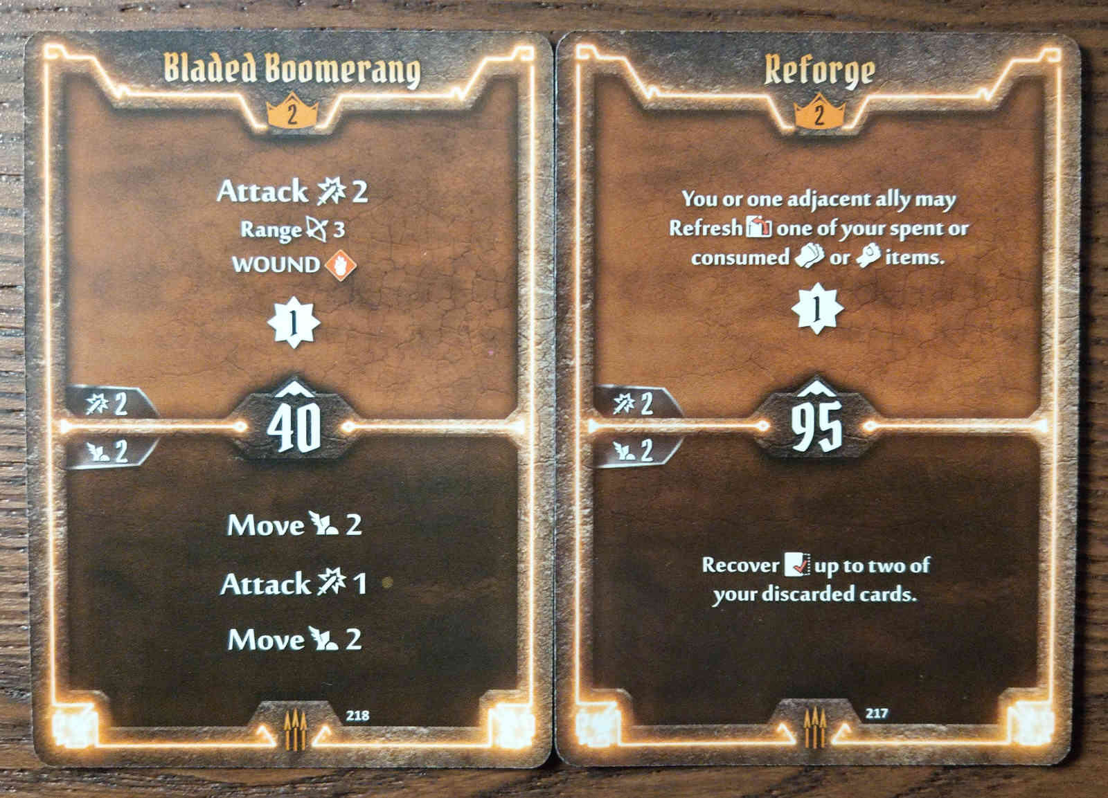Level 2 Quartermaster cards - Bladed Boomerang and Reforge