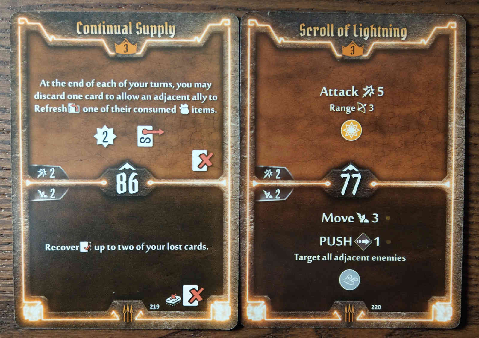 Level 3 Quartermaster cards - Continual Supply and Scroll of Lightning
