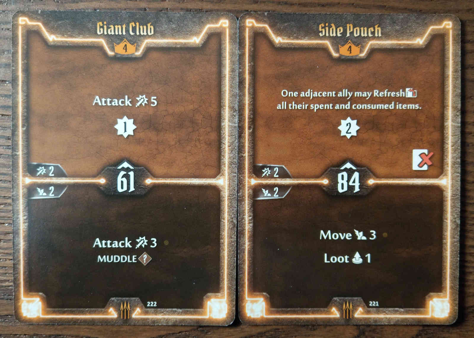 Level 4 Quartermaster cards - Giant Club and Side Pouch