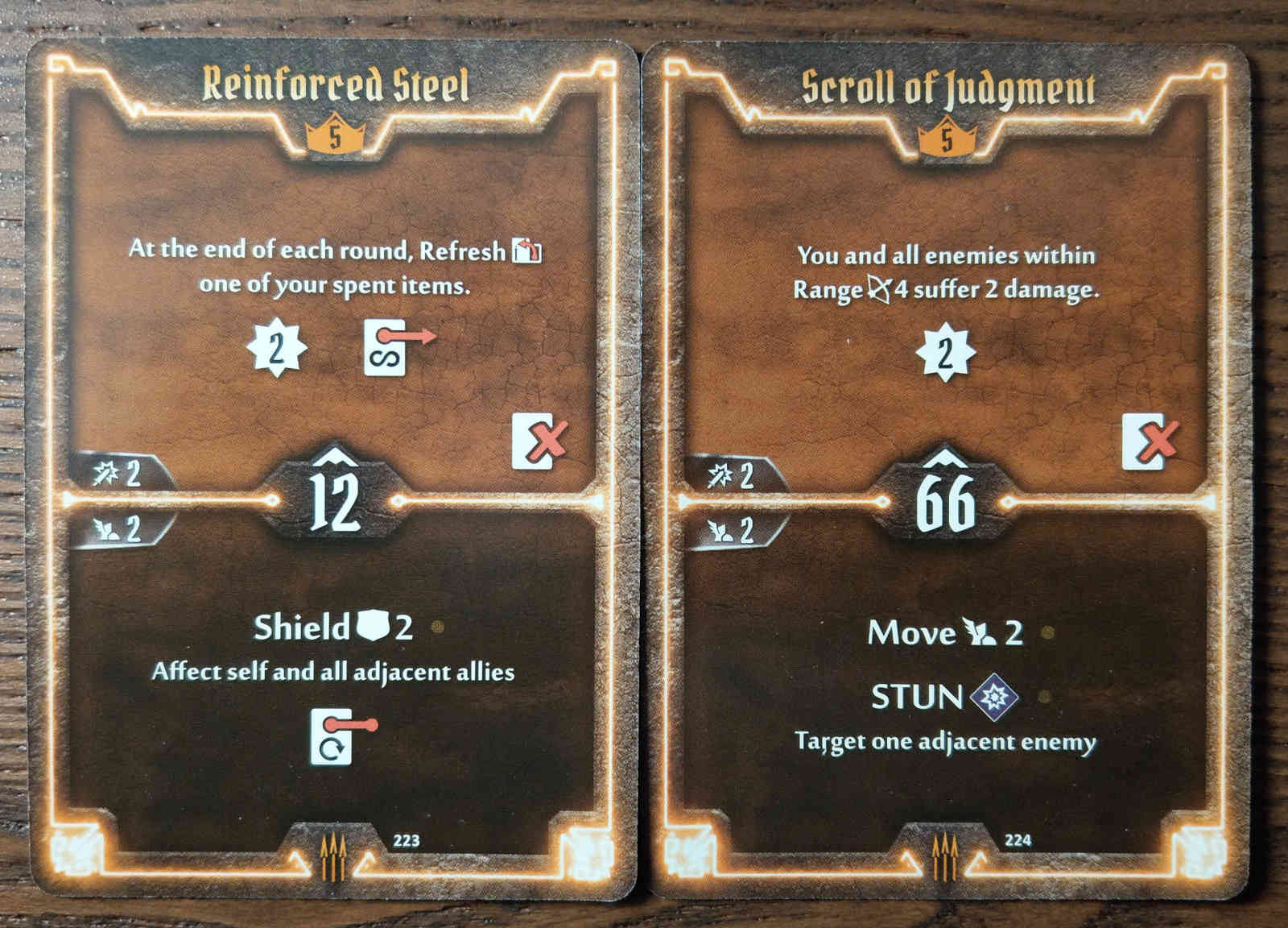 Level 5 Quartermaster cards - Reinforced Steel and Scroll of Judgment