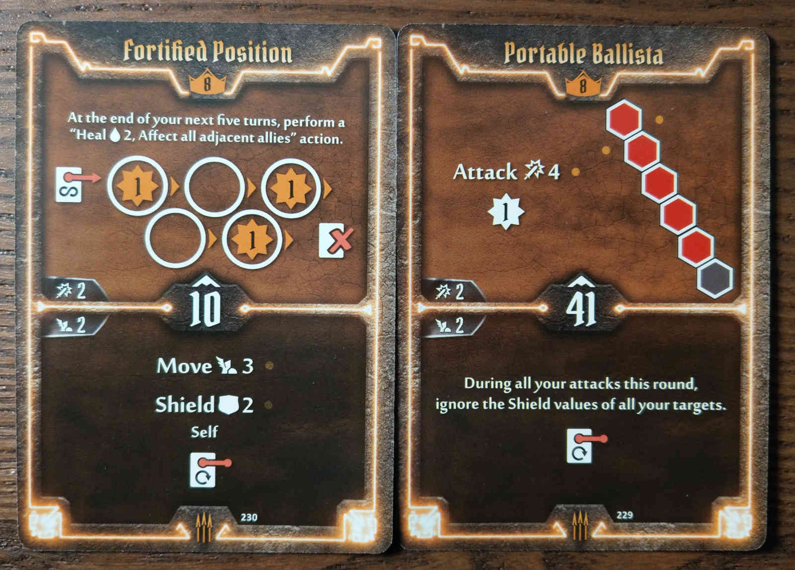 Level 8 Quartermaster cards - Fortified Position and Portable Ballista