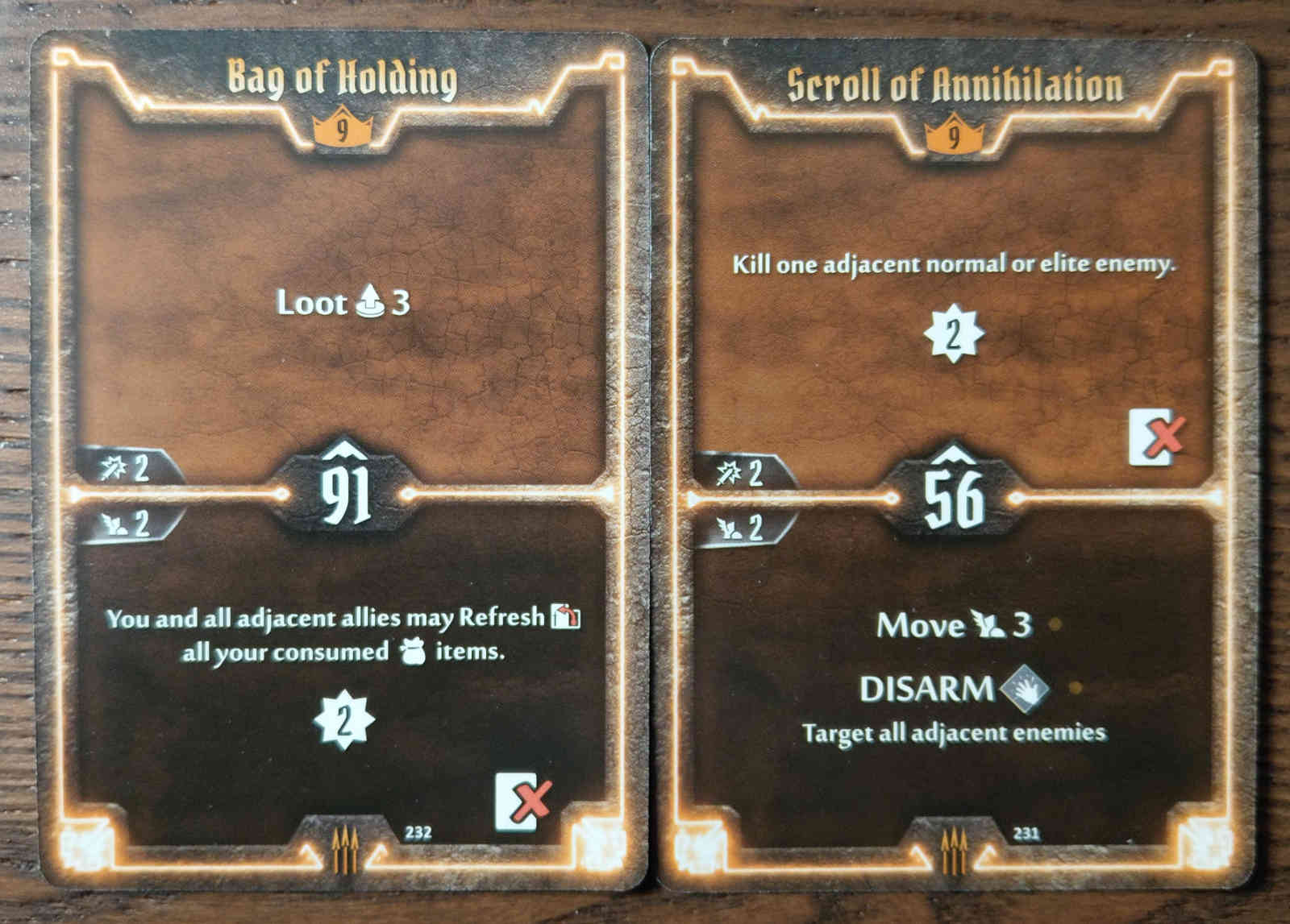 Level 9 Quartermaster cards - Bag of Holding and Scroll of Annihilation