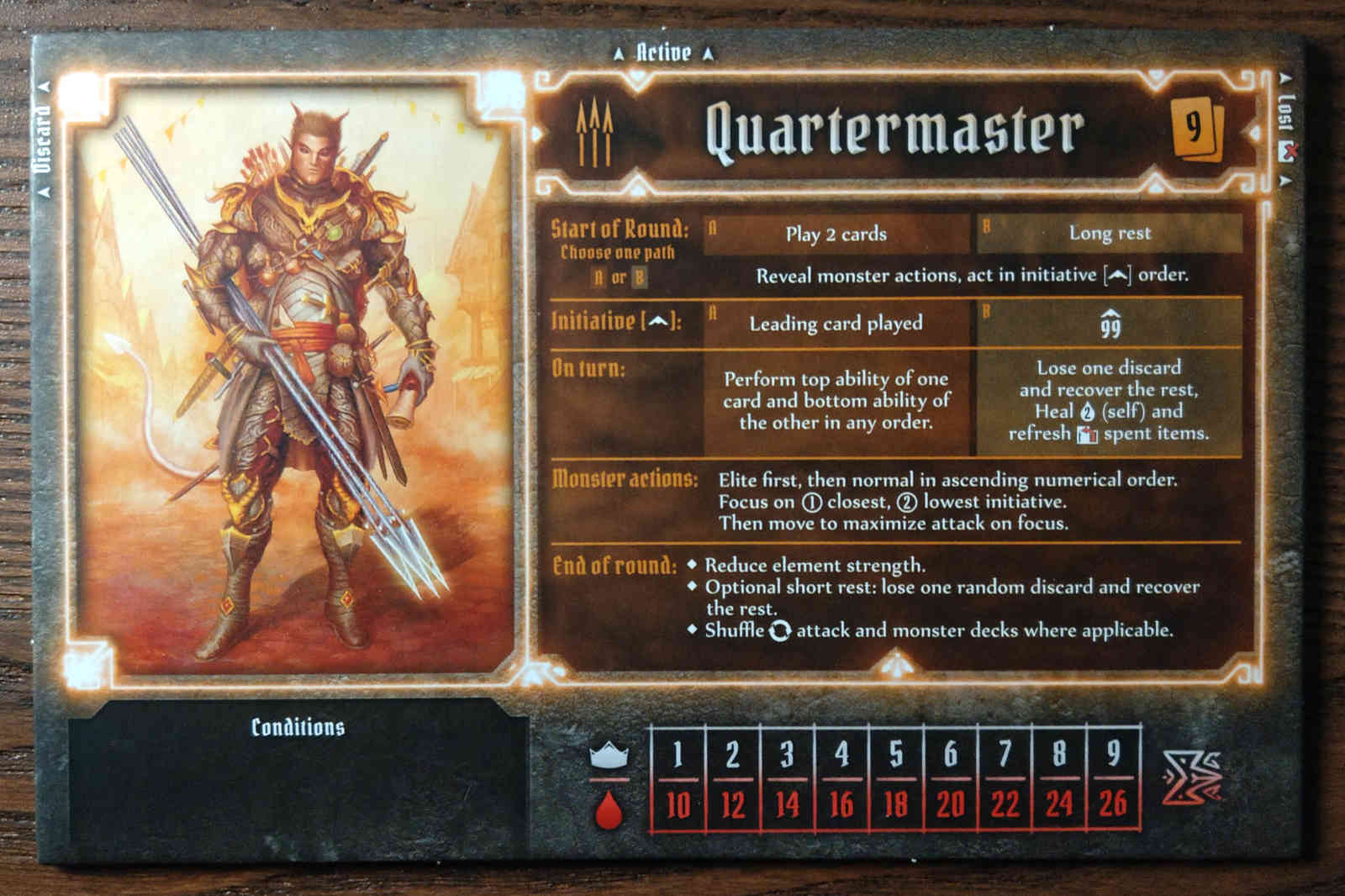 Gloomhaven Quartermaster Class board showing hit points and experience by level