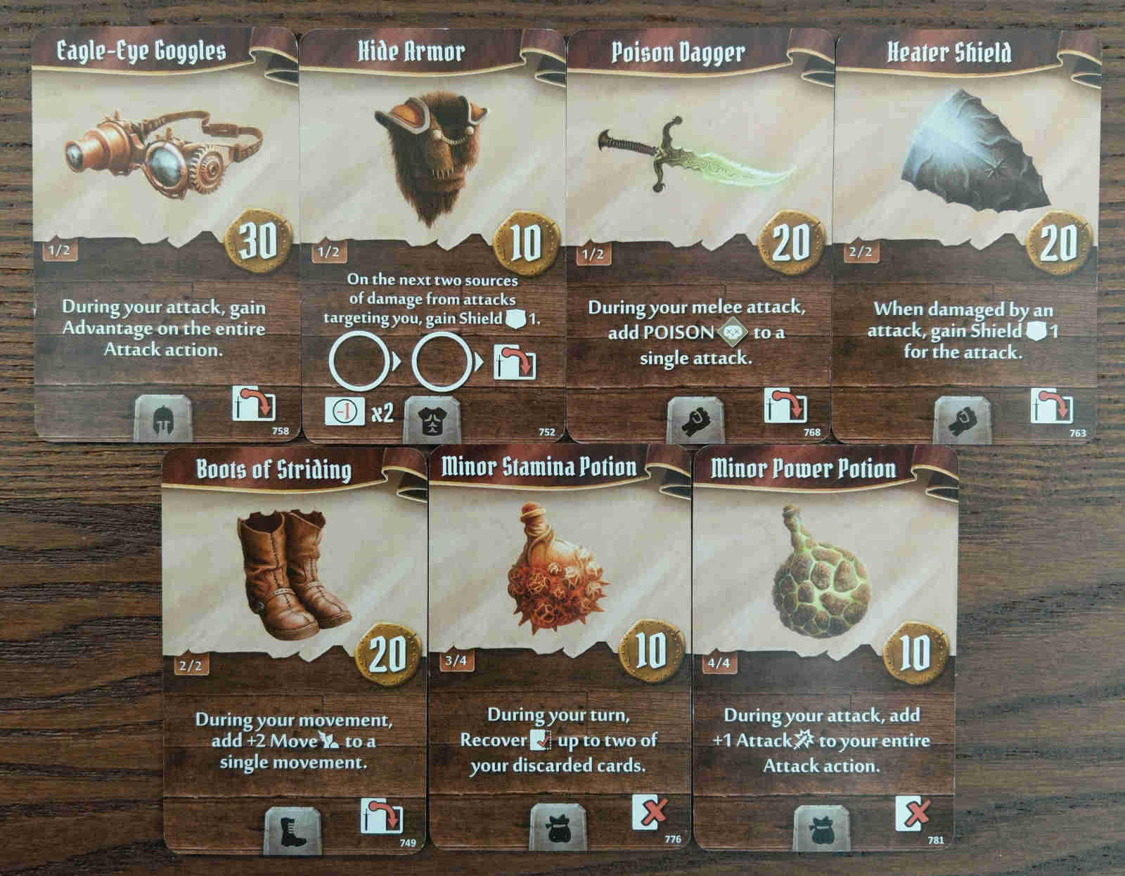 Quartermaster starting item cards - Eagle-Eye Goggles, Hide Armor, Poison Dagger, Heater Shield, Boots of Striding, Minor Stamina Potion and Minor Power Potion
