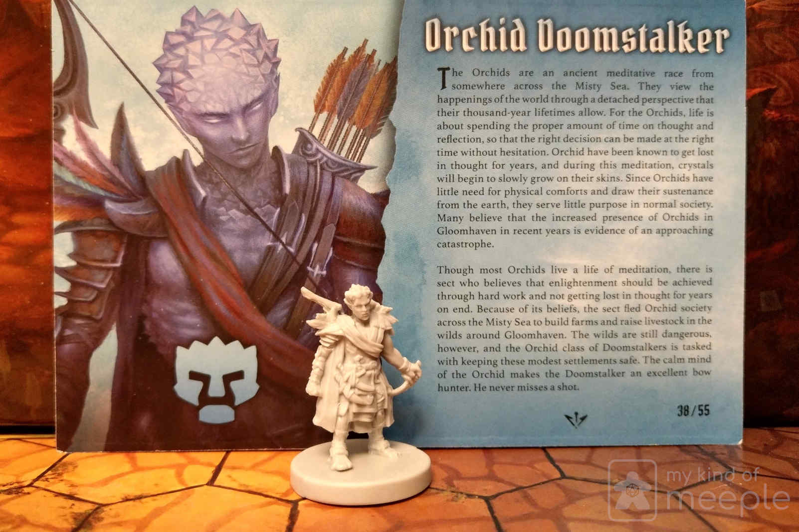 Gloomhaven Doomstalker class miniature and character board