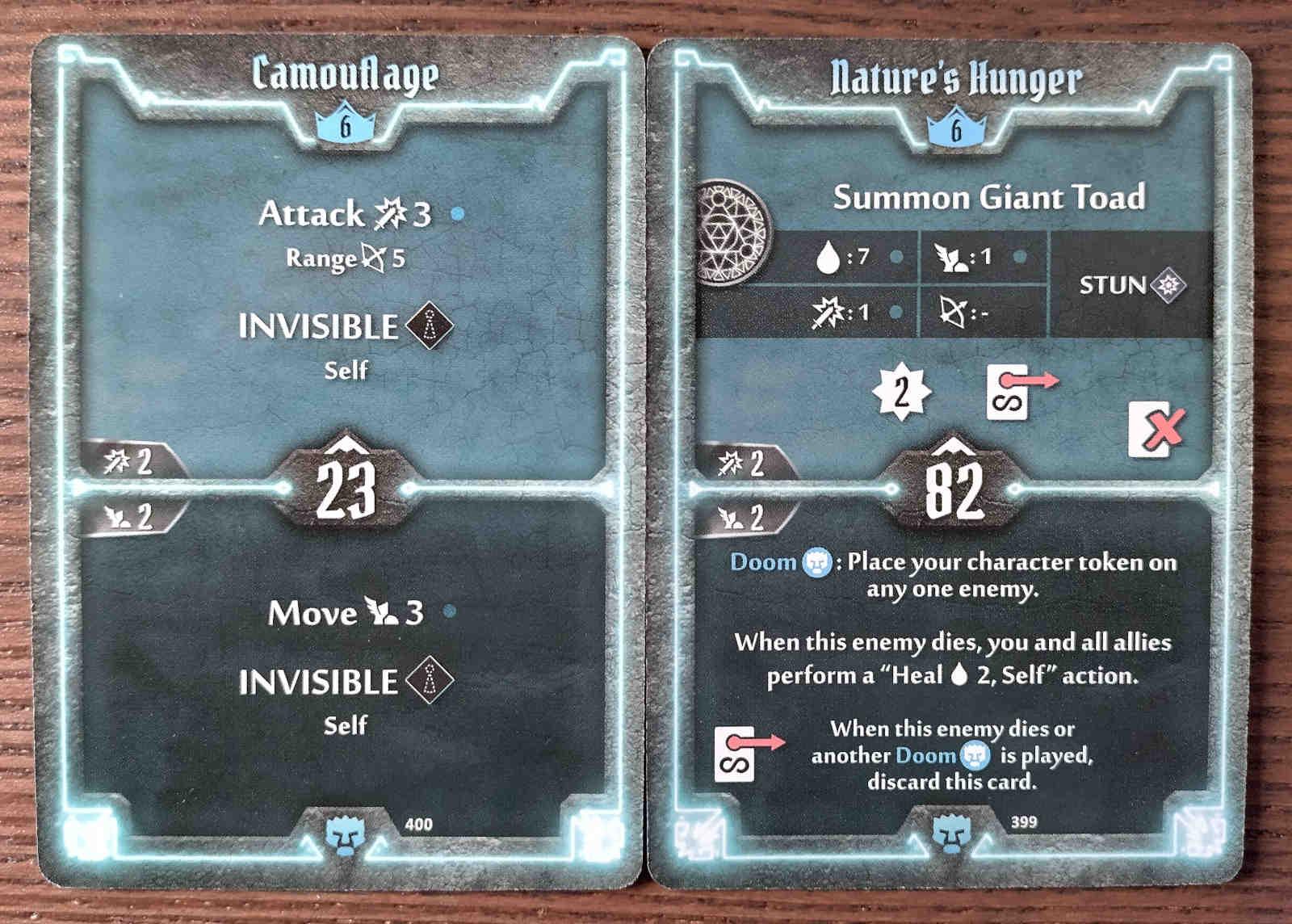 Level 6 Doomstalker cards - Camouflage and Nature's Hunger
