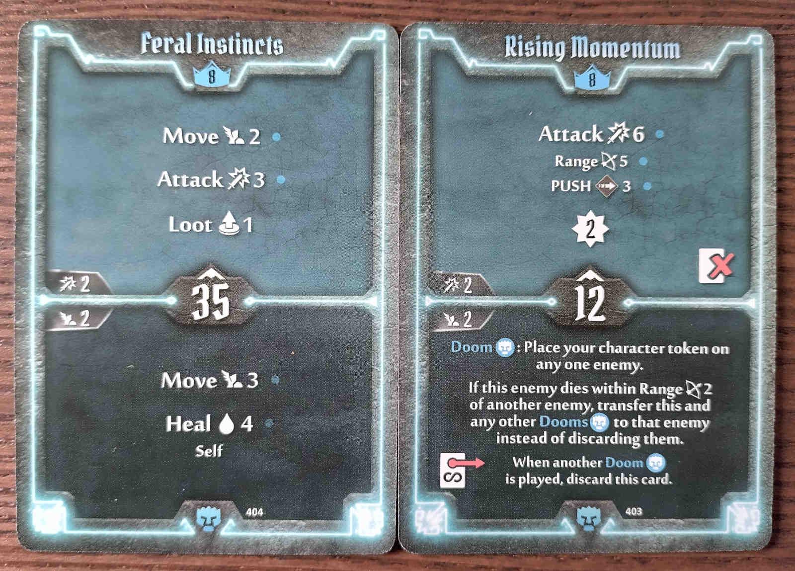 Level 8 Doomstalker cards - Feral Instincts and Rising Momentum