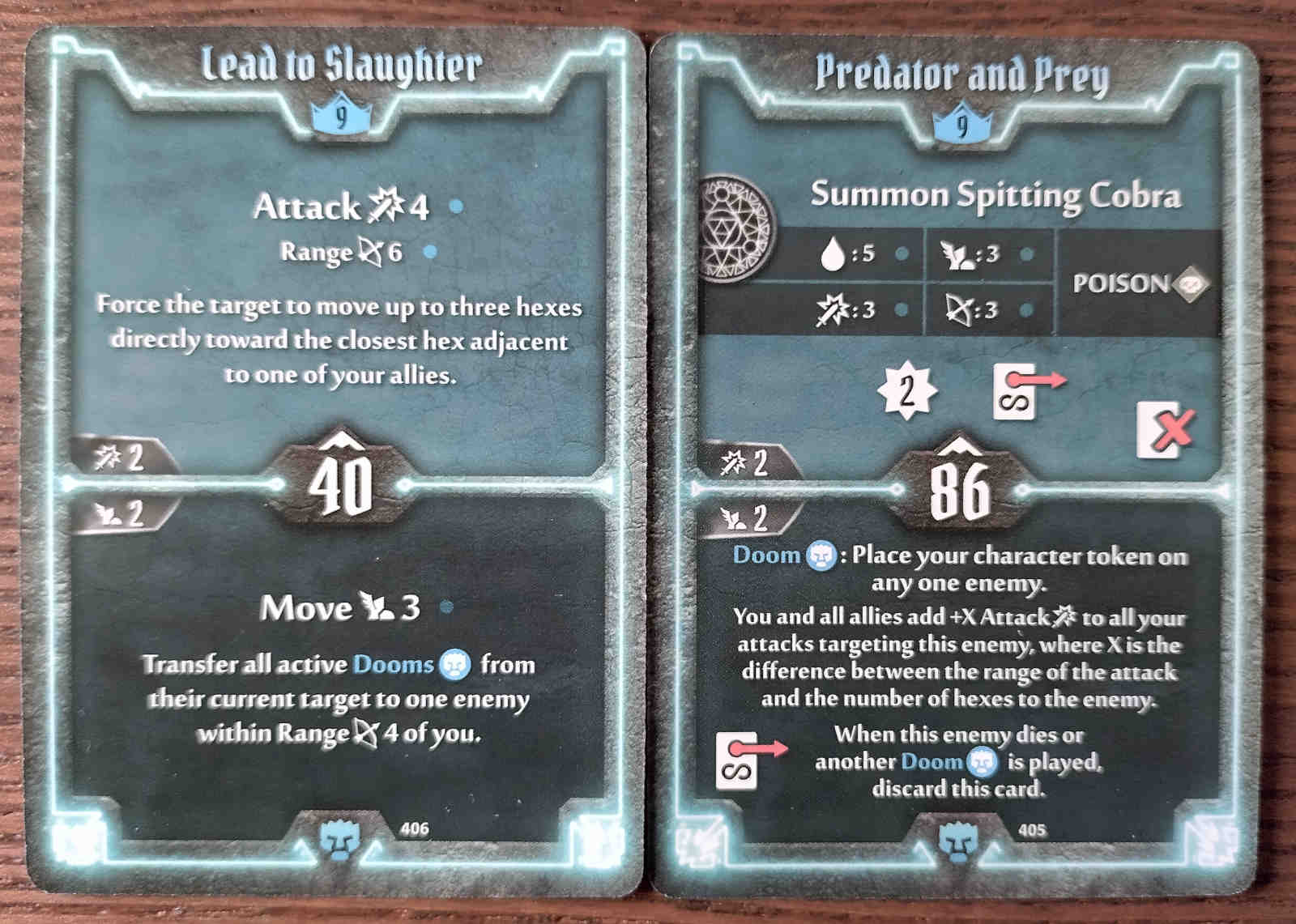 Level 9 Doomstalker cards - Lead to Slaughter and Predator and Prey