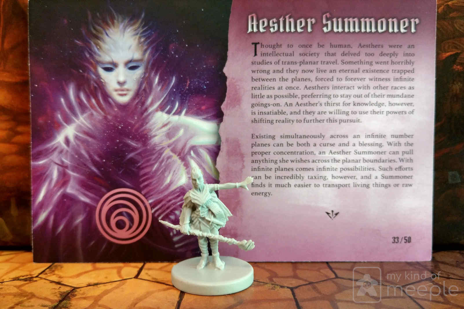 Summoner class miniature and character board