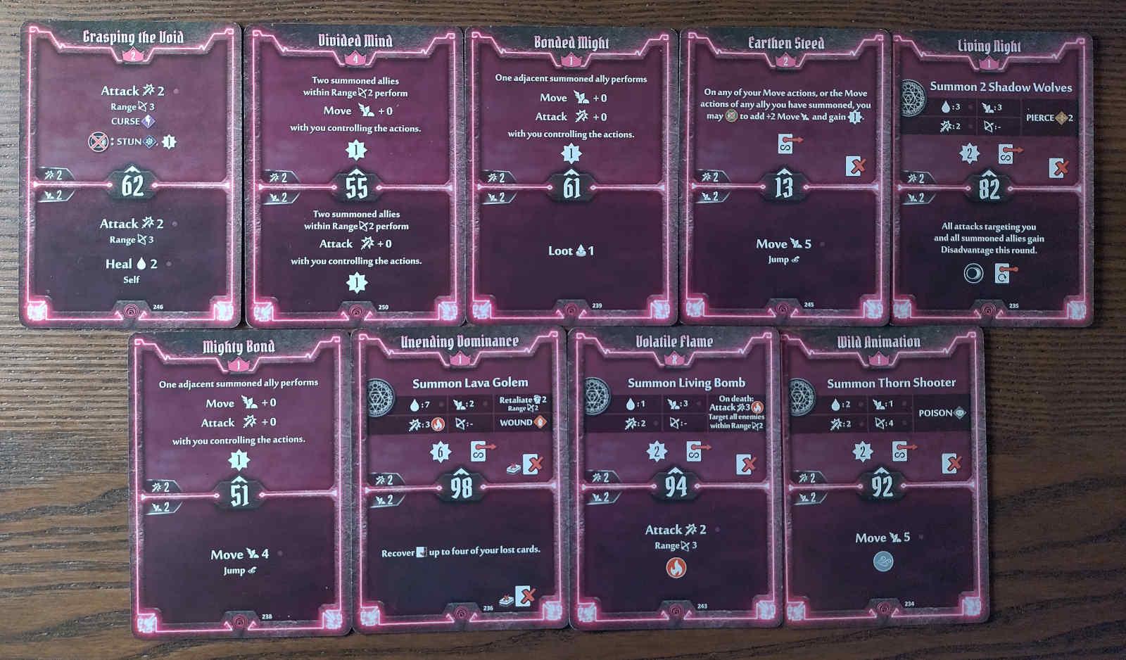 Gloomhaven Summoner build level 4 cards