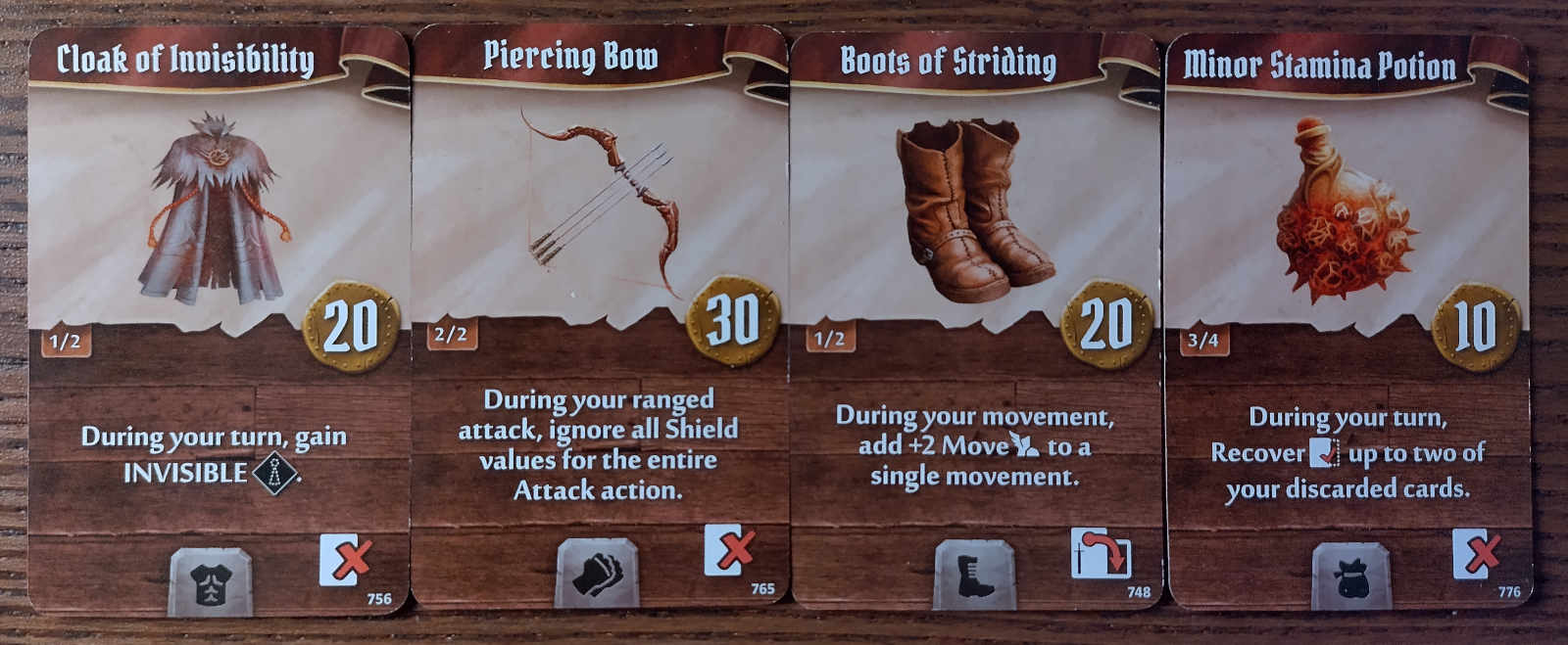 Summoner starting items - Cloak of Invisibility, Piercing Bow, Boots of Striding, Minor Stamina Potion.
