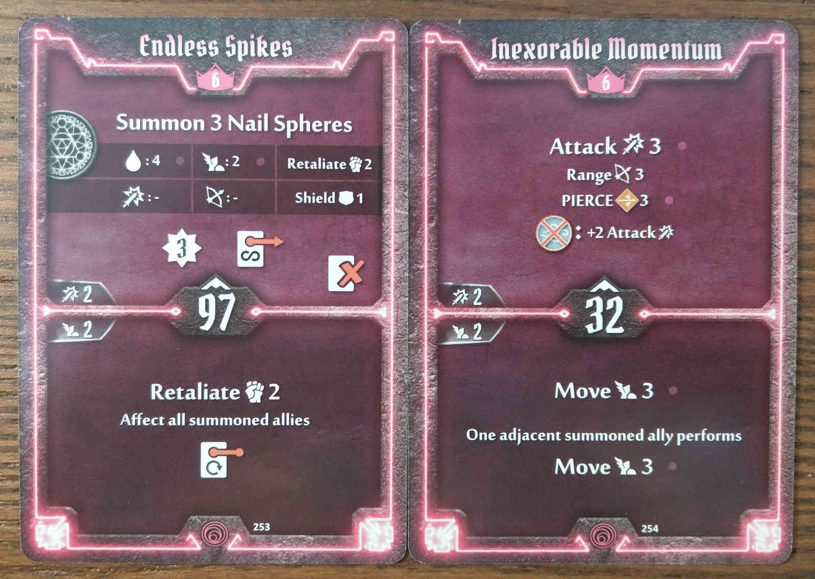 Level 6 Summoner cards - Endless Spikes and Inexorable Momentum