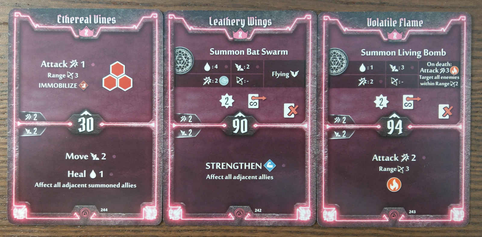Summoner level X cards - Ethereal Vines, Leathery Wings, and Volatile Flame