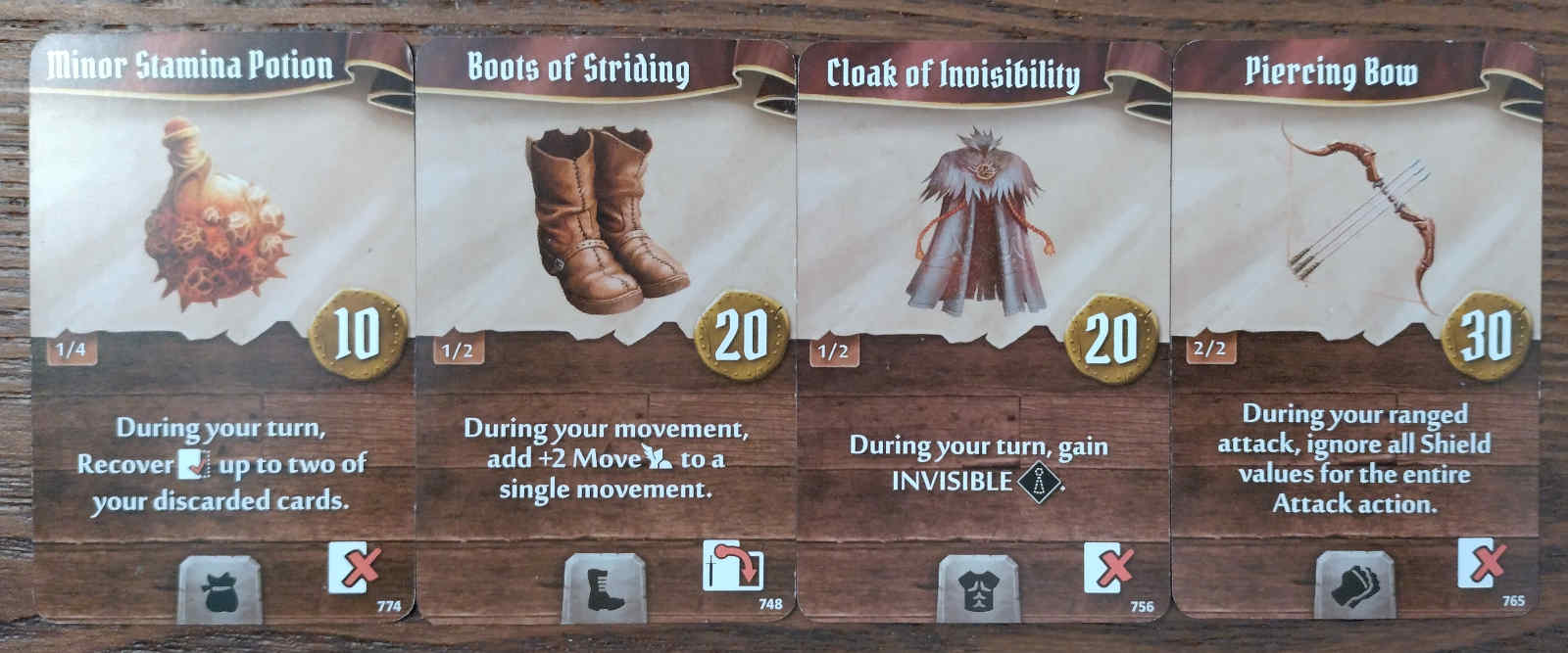 Doomstalker starting items - Minor Stamina Potion, Boots of Striding, Cloak of Invisibility and Piercing Bow