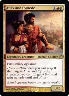 Anax and Cymede MtG card. Image: Wizards of the Coast.