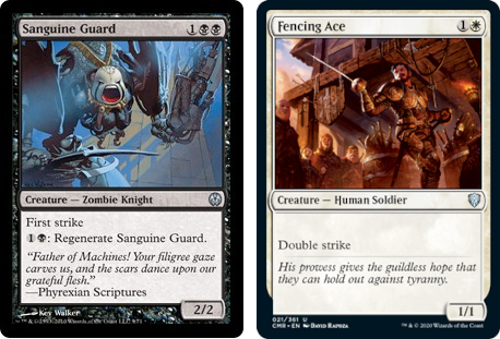 Sanguine Guard and Fencing Ace MtG cards. Image: Wizards of the Coast.